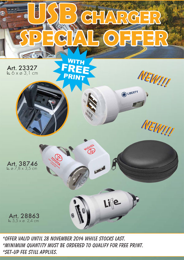 USB  CHARGER SPECIAL OFFER WITH FREE PRINT 29-10-2014